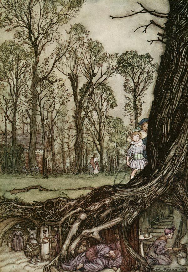Arthur Rackham, The Fairies Would Hide until Dusk, Peter Pan in Kensington Gardens