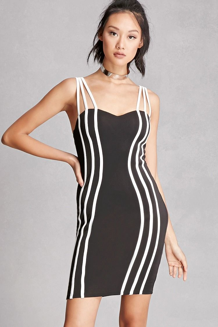 A knit bodycon dress featuring strappy cami cutouts, a sweetheart neckline with padded cups, front contrast piping stripes, and an invisible back zipper. This is an independent brand and not a Forever 21 branded item.