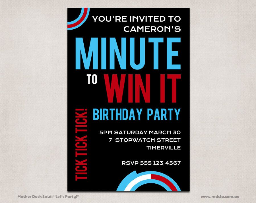 Minute to win it party invitations birthday party ideas minute to win it party invitations maxwellsz