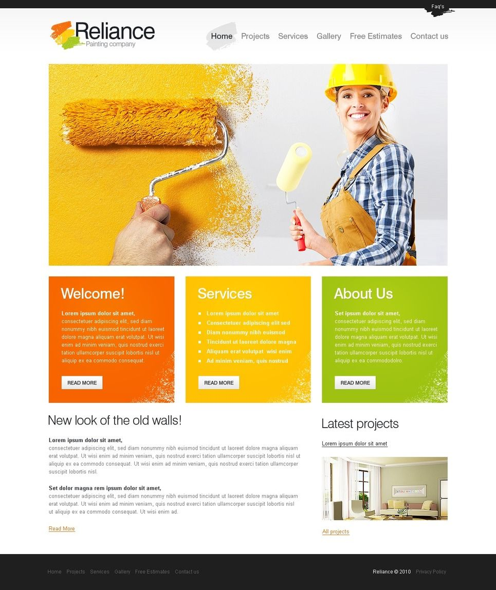 Painting Company Facebook Html Cms Template 42966