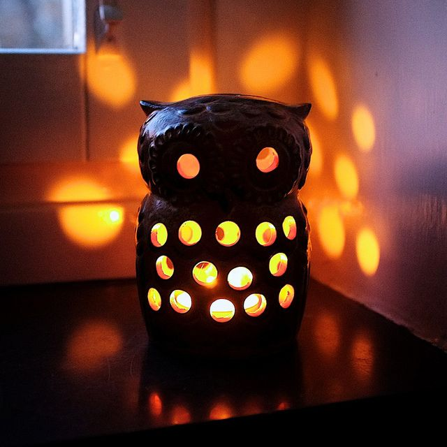 Owl Tea Light. I have one similar to this one and love it to bits. Yes, I had to use glue.