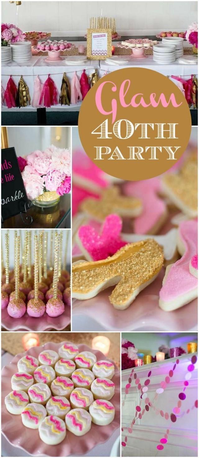 Glam 40th Birthday Party Birthday 40th Birthday Parties Woman Birthday Party 40th Birthday Table Decorations [ 1473 x 640 Pixel ]