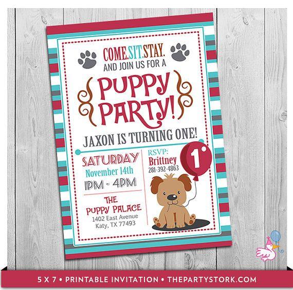 Puppy birthday invitation puppy invitation first birthday puppy invitation custom printable boys puppy first birthday party invitations puppy dog pawty theme 1st one year old blue filmwisefo