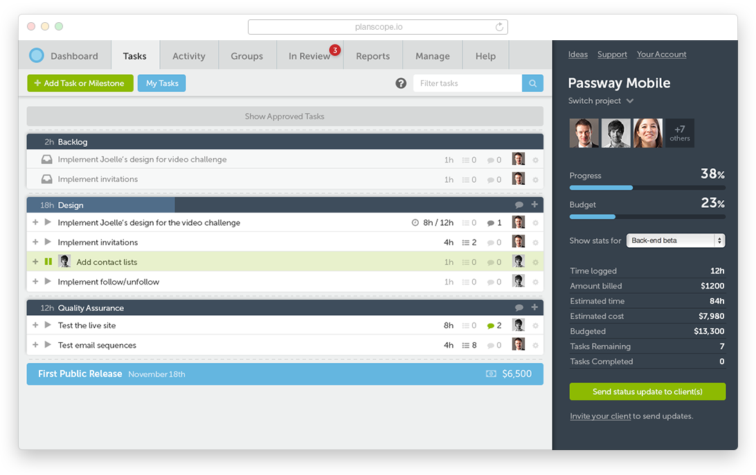 Project Management Software For Agencies And Freelancers Planscope Project Management Dashboard Dashboard Design Project Management