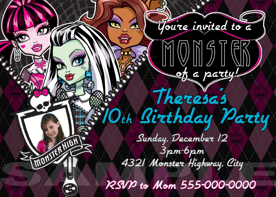 Custom Monster High Party Invitation Birthday Printable https ...