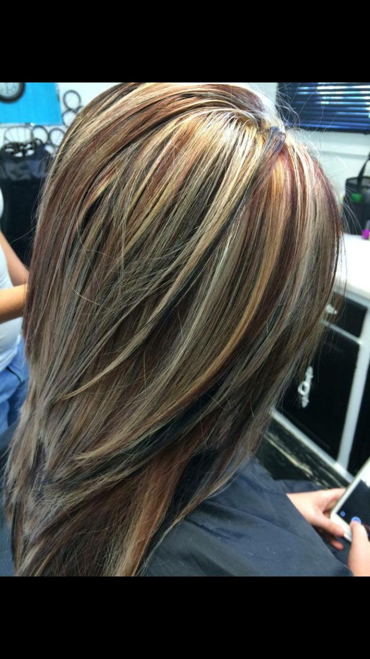 and brunette highlights Red