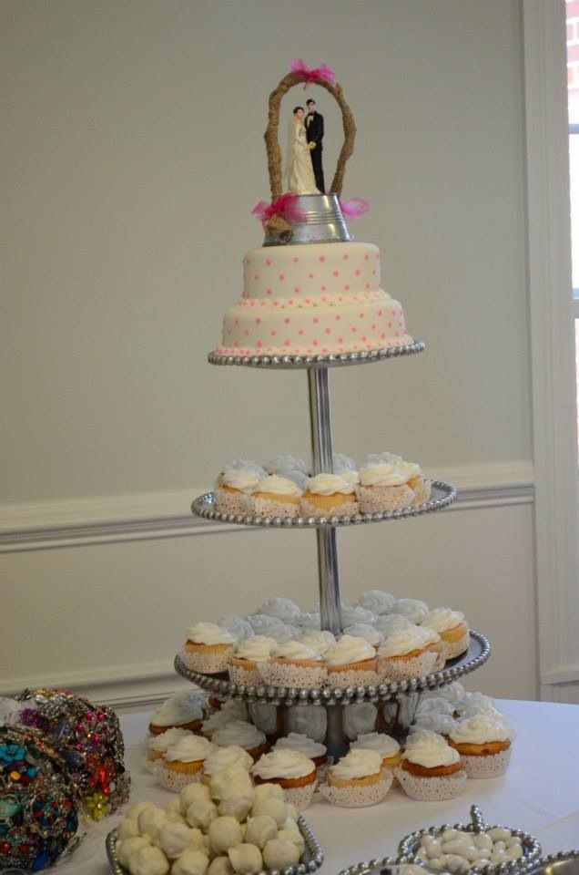 Tiered Stand With Cupcakes, Gerbera Daisies and a Monogram