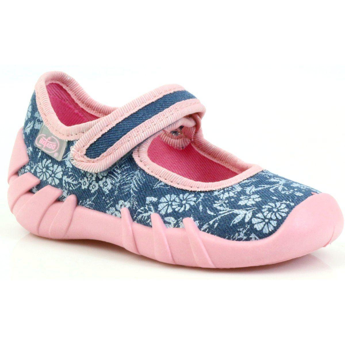 25396733b6e75 Różowe Szare Niebieskie Kapcie balerinki w kwiatki Befado 109p160