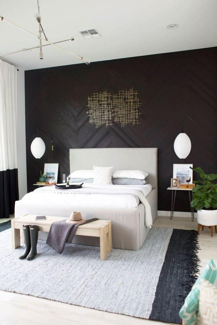 Akzentwand Mit Holz Moderne Wandgestaltung Mit Fischgrätmuster Akzent Wand Schlafzimmer Wanddekor Schlafzimmer Schlafzimmer Deko
