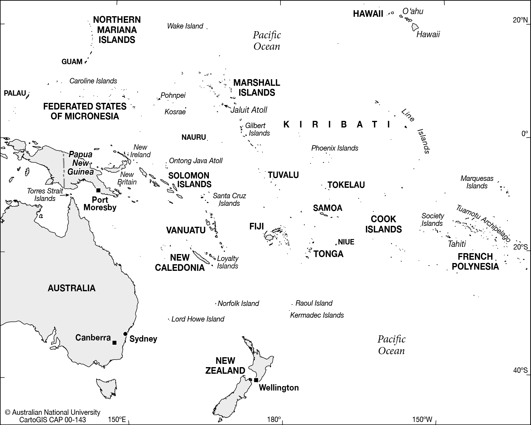 Blank Map South Pacific Islands Southwest Pacific