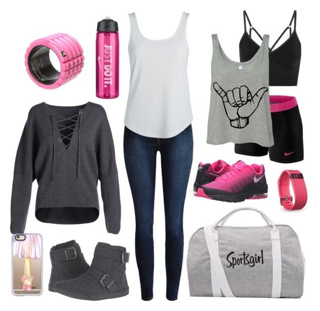 """""""Gym Day"""" by rachellynn-couture ❤ liked on Polyvore featuring Vince, Blowfish, Casetify, NIKE, TriggerPoint and Fitbit"""
