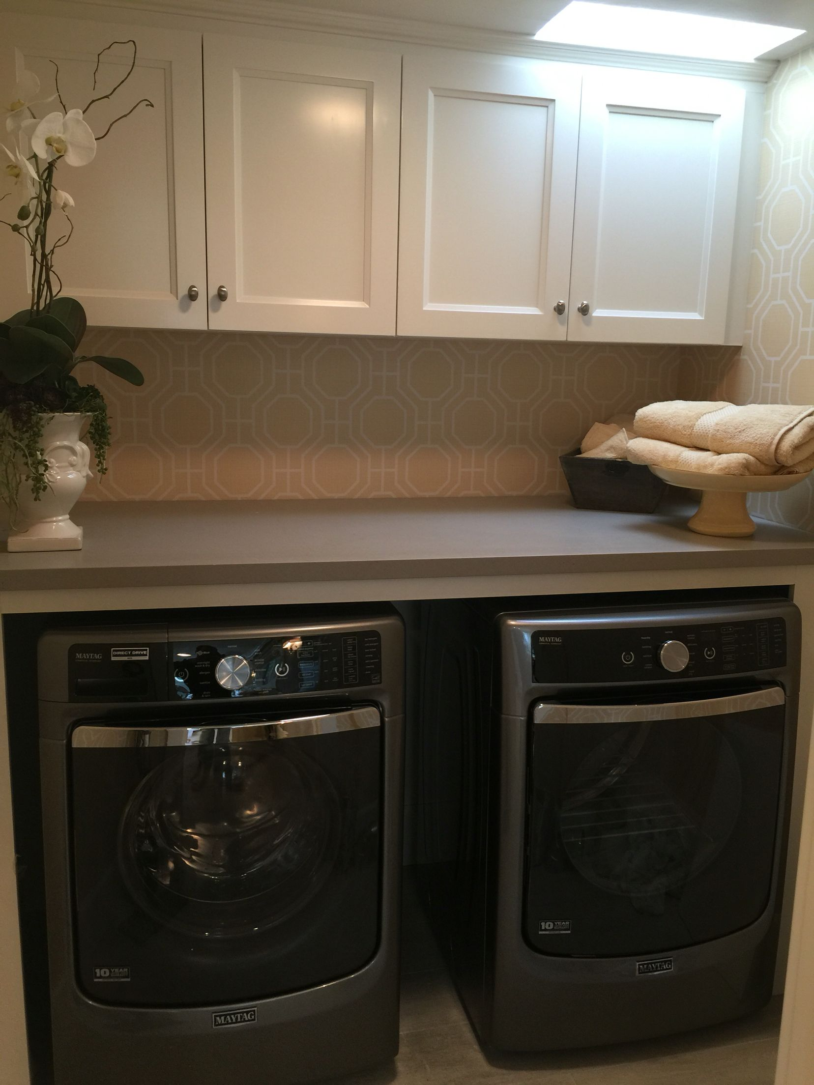 Laundry Room Design Grey Maytag Washer And Dryer White Cabinets