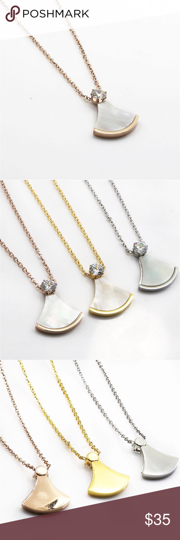 Pearl Pendant Necklace Stainless Steel Pendant Necklace Elegant Delicate Won T Tarnish So It Ll Last You A Long Time Available My Posh Picks Jewel