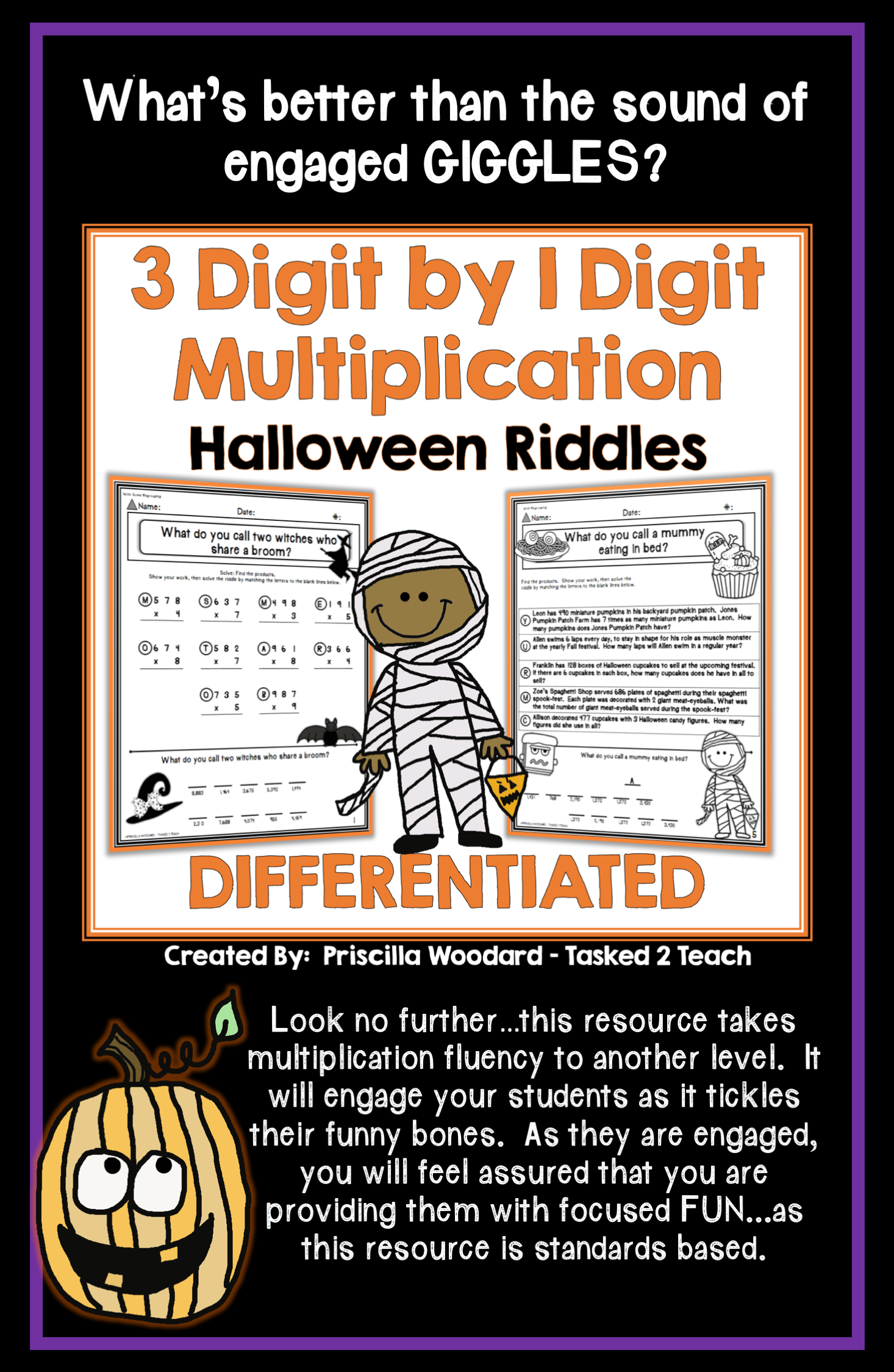 3 Digit By 1 Digit Multiplication Halloween Theme Riddles