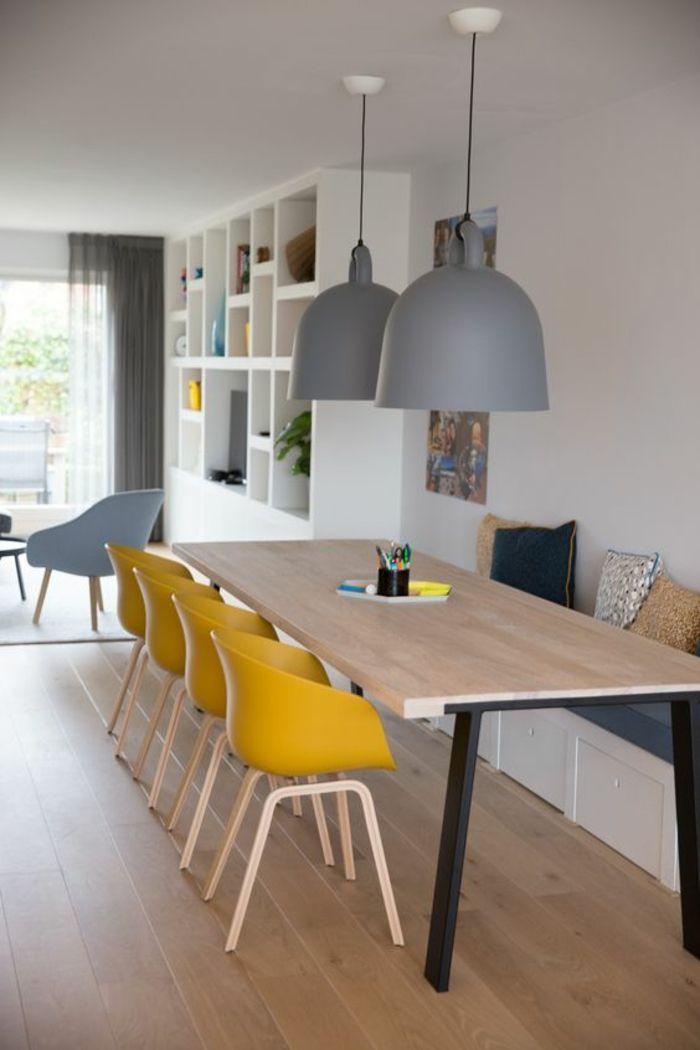 Une salle manger de style scandinave ouverte sur le - Deco salon salle a manger ...
