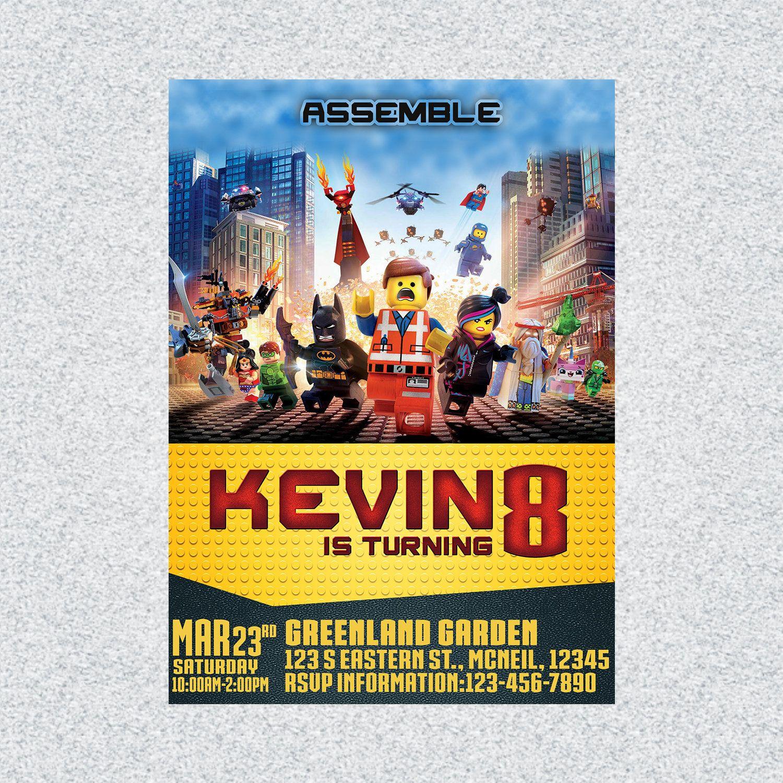 Bricks Movie 2 Birthday Invitation Bricks Movie Invitation Card