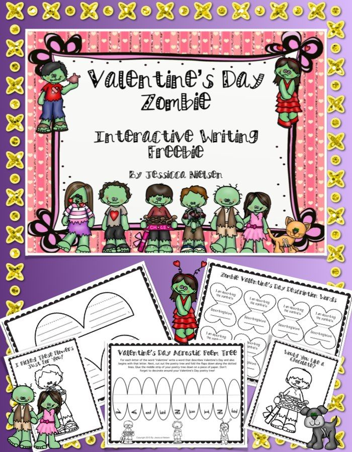 FREEBIE! This cute and fun Valentine's Day zombie themed writing freebie includes a foldable Valentine's Day acrostic poem tree, and all of the directions, interactive foldables, writing paper, and picture cards needed for your students to write a creative zombie themed story for Valentine's Day.
