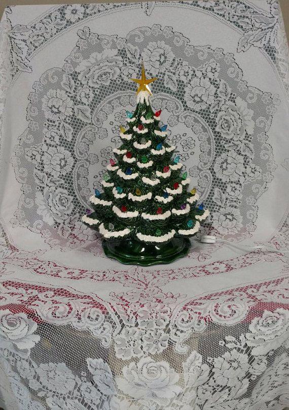 Ceramic Christmas Tree Lighted 16 Vintage by SandysFiredArtStudio