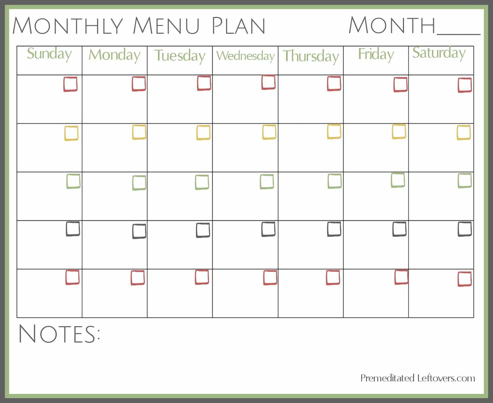 Free Printable Monthly Menu Plan
