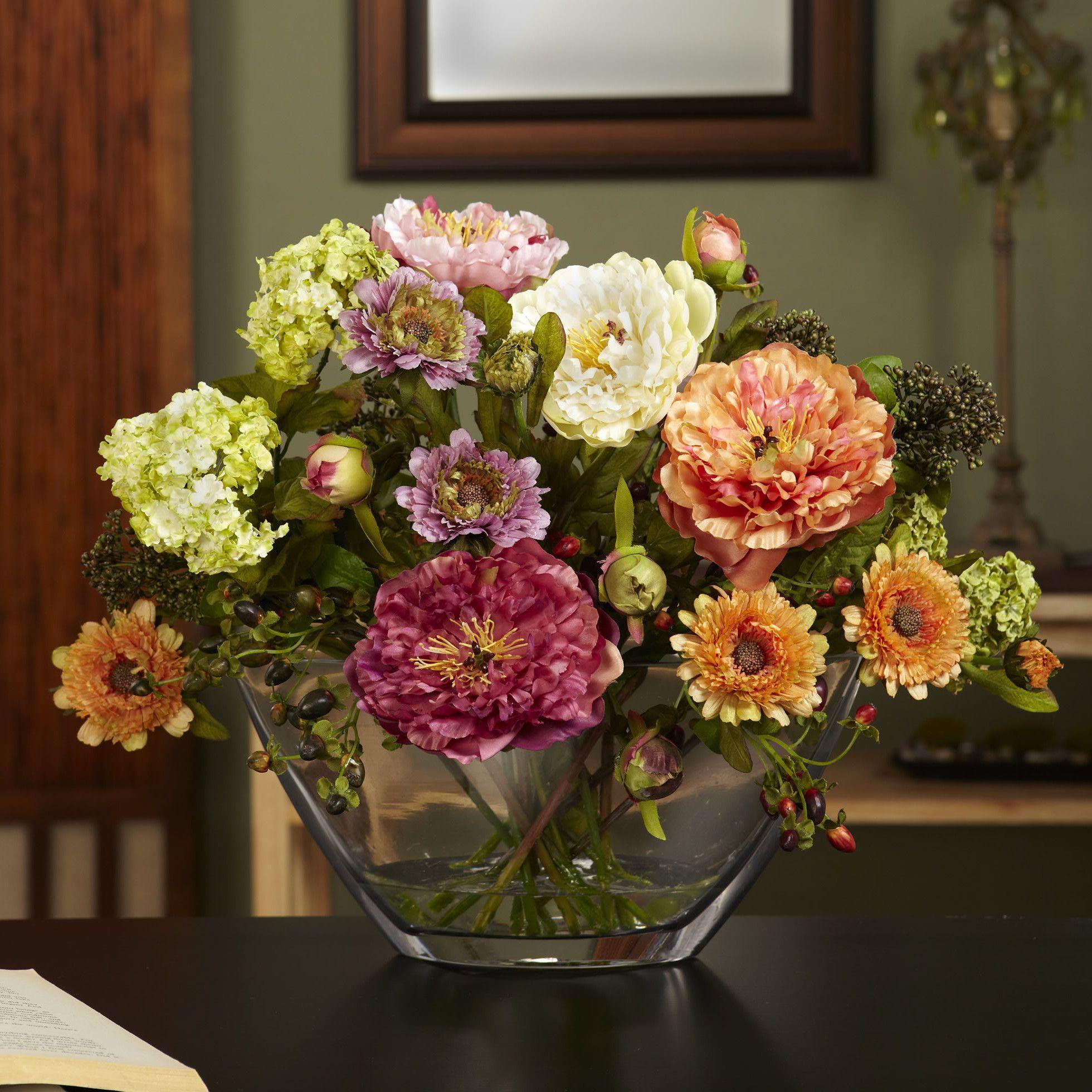 Nola Peony Arrangement With Glass Vase Silk Flower Products