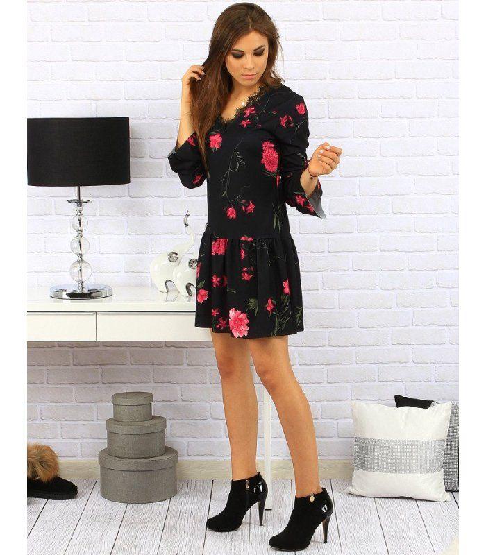 46f4c3c5b7ef Čierne šaty Margarita s červeným kvetom