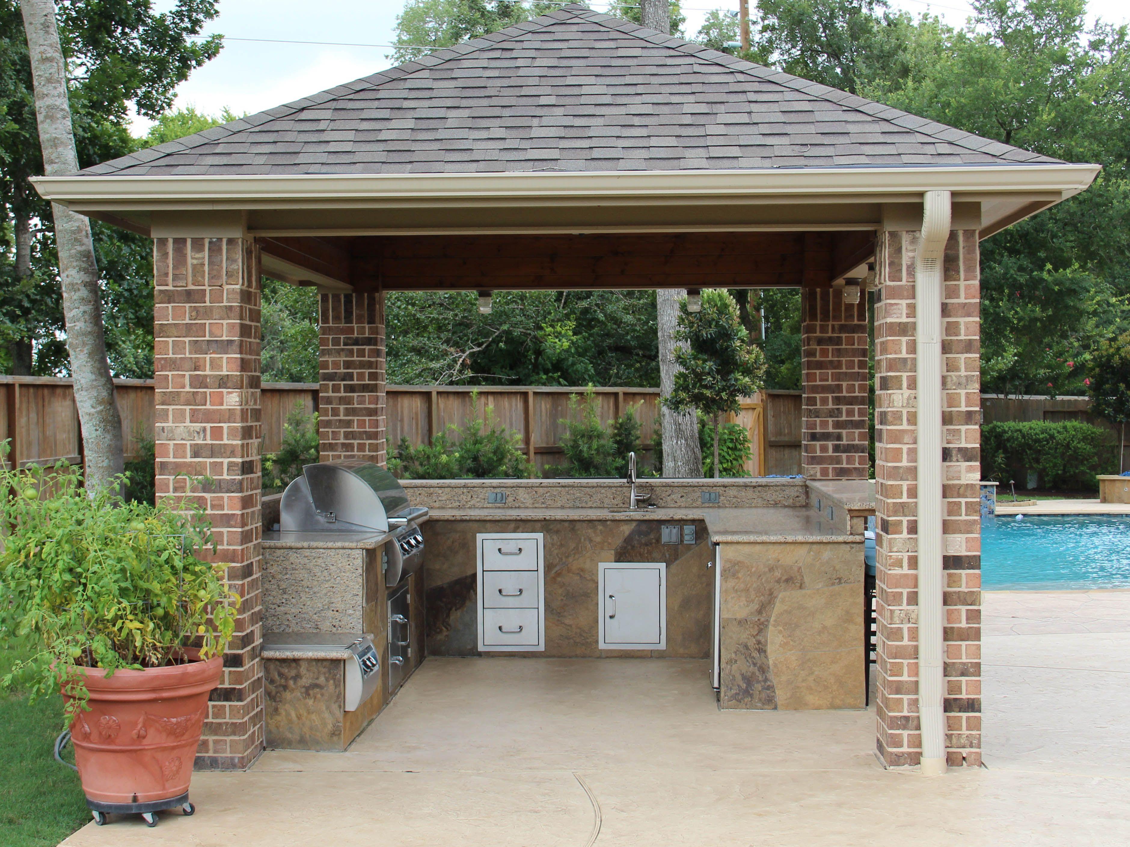 Www Customoutdoors Com Outdoor Kitchen Under A Texas Porch Style Patio Cover Kitchen Has A Grill Sink Refrigerat Porch Styles Outdoor Kitchen Covered Patio