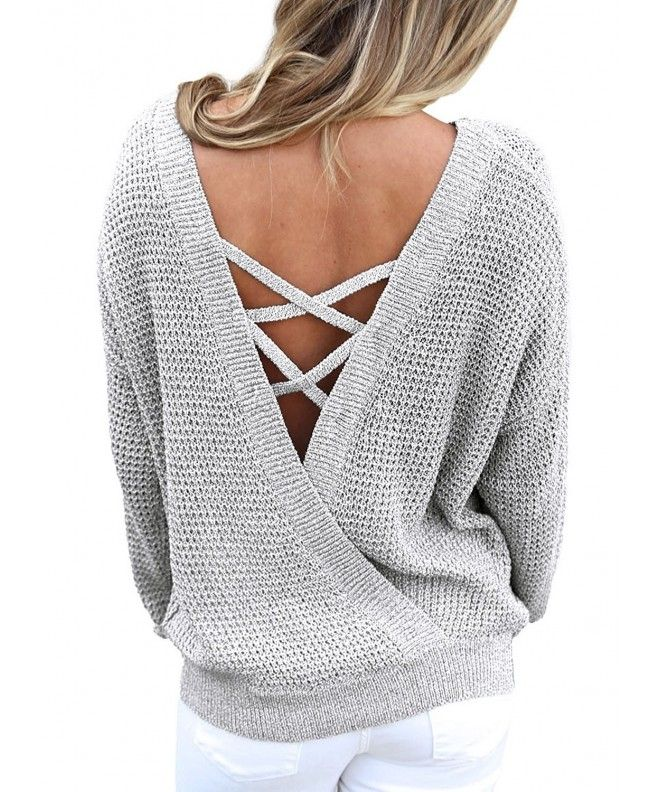 8b2784f1fc3d8 Women s Long Sleeve Criss Cross Backless Casual Loose Knit Pullover Sweaters  - Grey - CR1865L234R