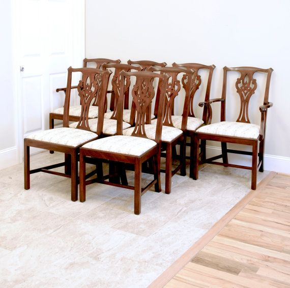 Henkel Harris Mahogany Set Of 8 Chippendaleprettyruggeddesigns Amusing Chippendale Dining Room Set 2018