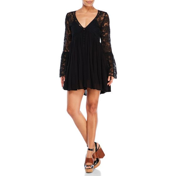 Free People Lace Bell Sleeve Dress ($12) ❤ liked on Polyvore featuring dresses, black, lacy dress, sleeved dresses, crinkle dresses, free people dresses and braid dress
