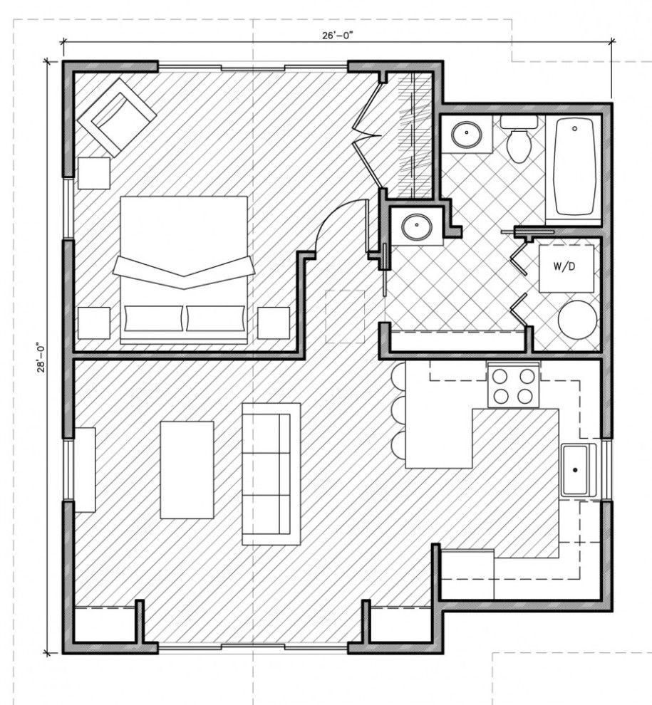 Architecture, Minimalist Square House Plans One Bedroom approx ...