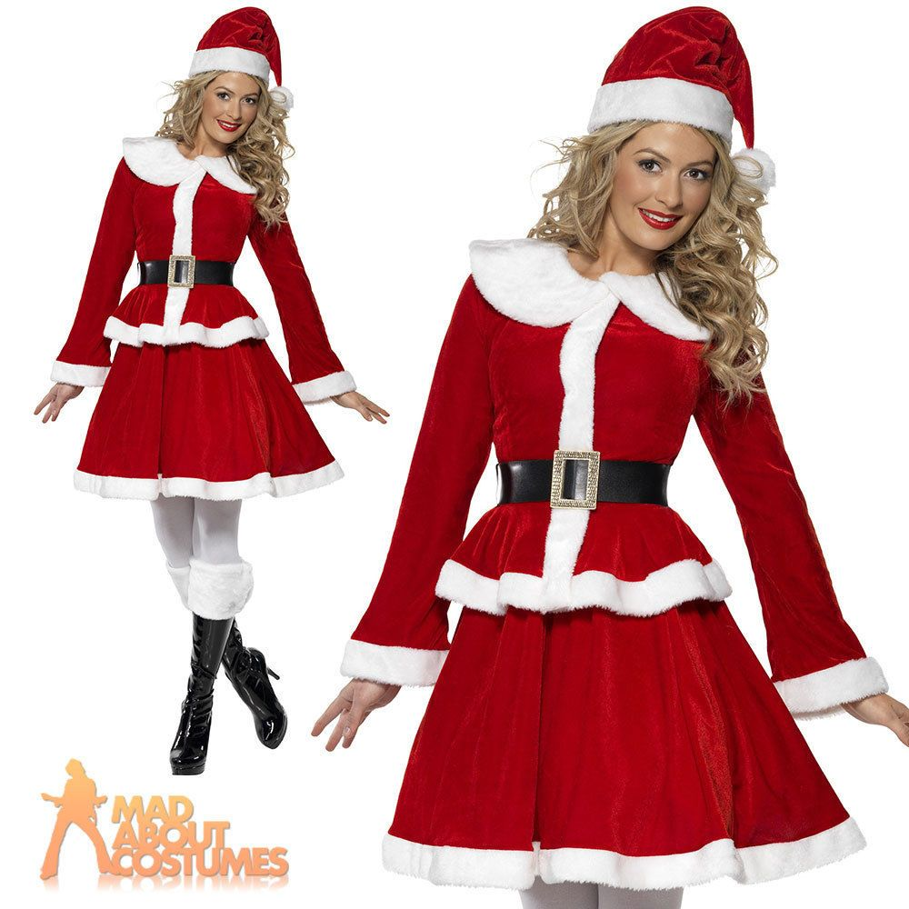 bafdce5bac5d8 Miss Santa Costume Sexy Ladies Father Christmas Fancy Dress Outfit New UK  8-22