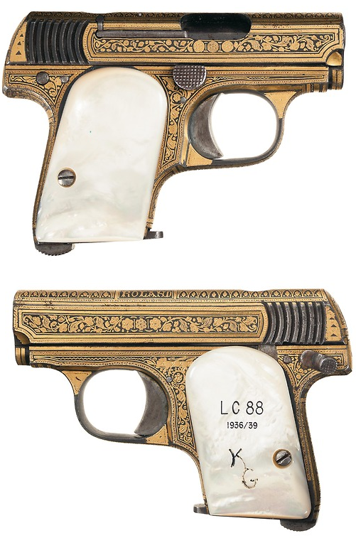 Rare and Historic Gold damascened Spanish Astra pocket pistol ...