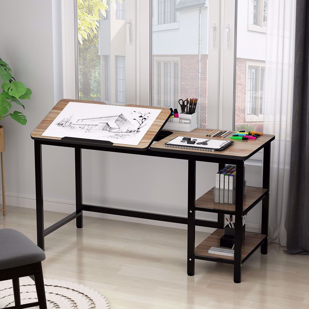 Multi Function Computer Desk With Adjustable Tiltable Stand Board