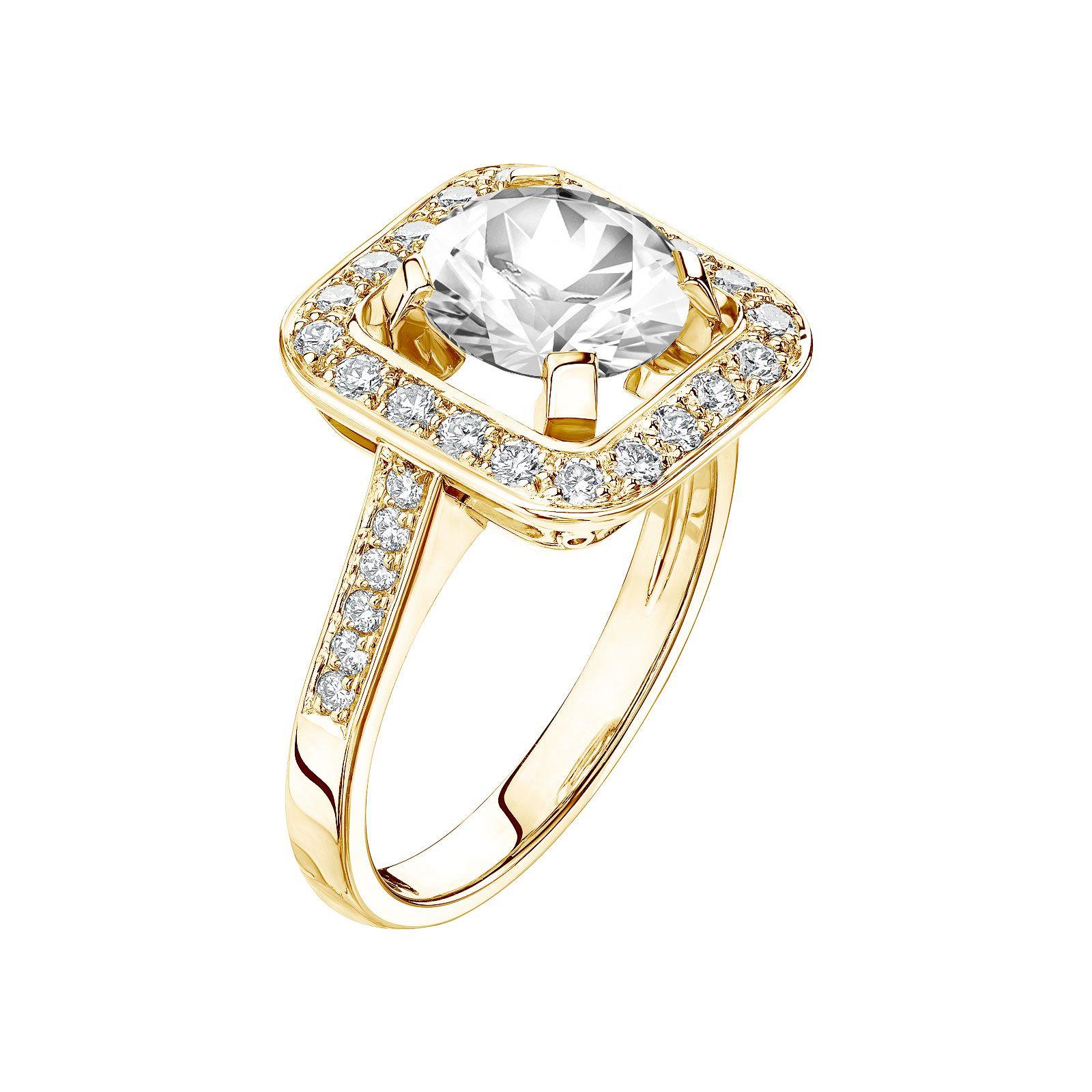 bague or jaune diamant rose