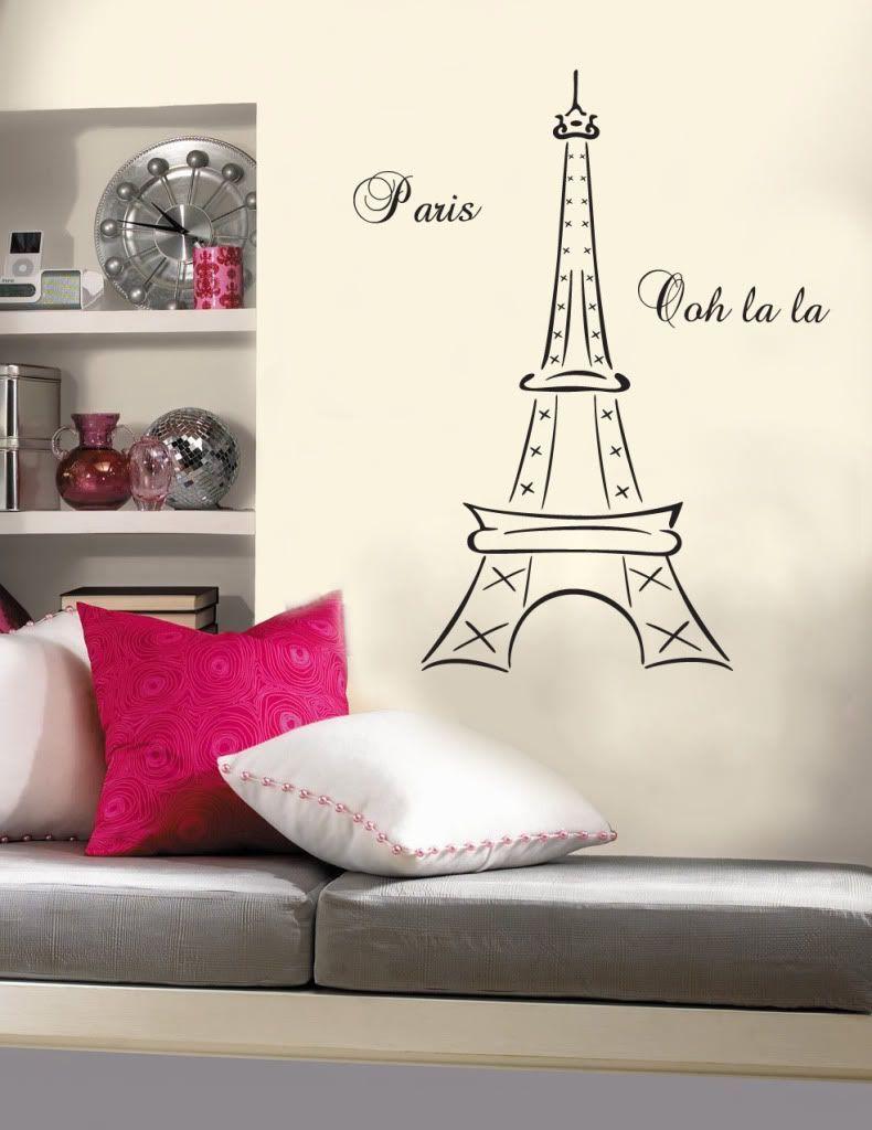 Paris Themed Bedrooms, Paris Bedroom, Bedroom Decor, Bedroom Ideas, Paris Theme  Decor, Eiffel Tower Drawing, Paris Cafe, Wallpaper Ideas, Eiffel Towers