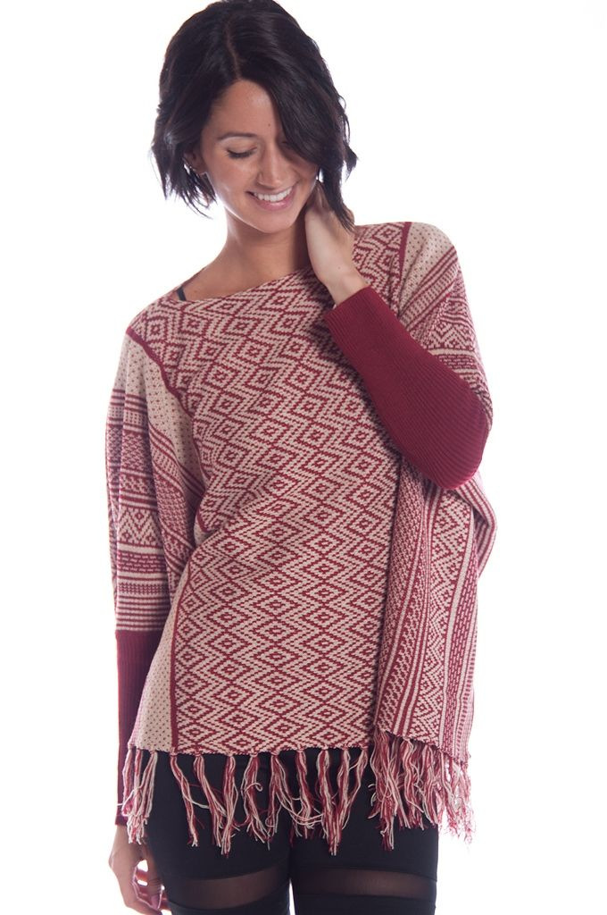 Fringed Geometric Print Knit Ponco - Burgundy from Actiive USA at Lucky 21