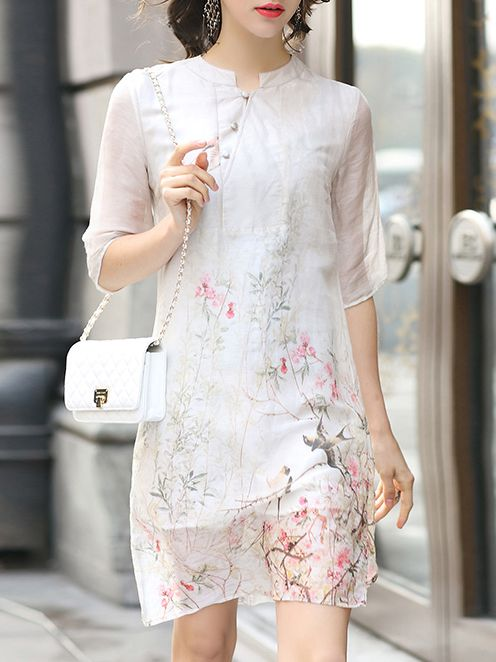 Shop White Collar Floral Shift Dress online. SheIn offers White Collar Floral…