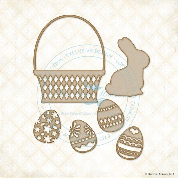 Reneabouquets New Item Listing~Blue Fern Studios Laser Cut Chipboard Bunny Basket, Easter, Bunny, Basket, & Eggs