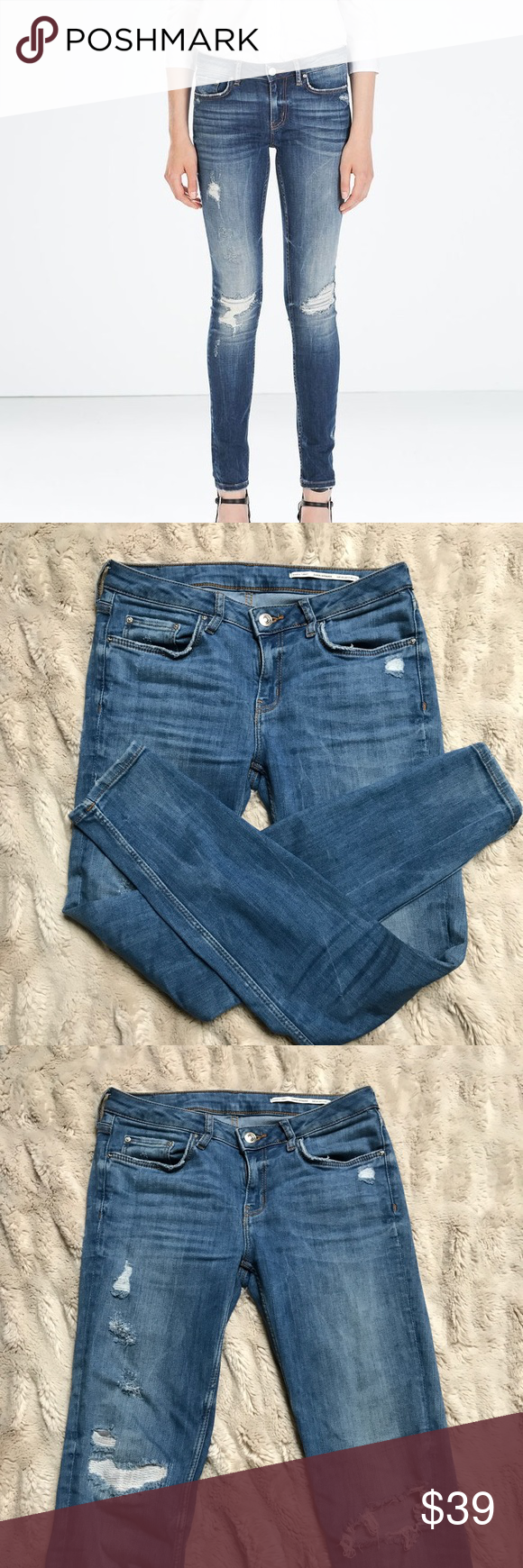 f5466325 ZARA Premium Denim Distressed Skinny Jeans ZARA Premium Denim distressed  skinny jeans. Pre-loved