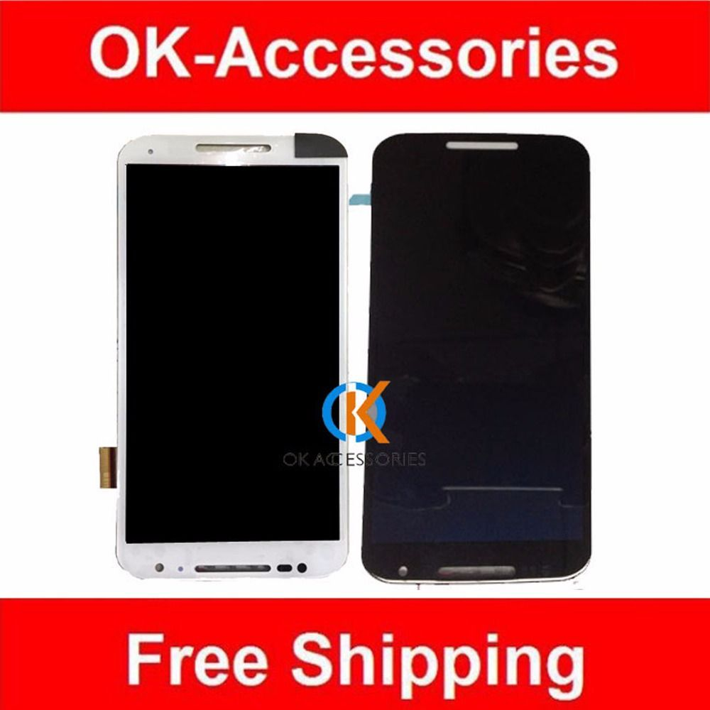 Original Quality 1PC/Lot Black White Color For Motorola X+1 X2 XT1092 XT1095 XT1097 LCD Display+Touch Screen Digtizer Assembly #Affiliate