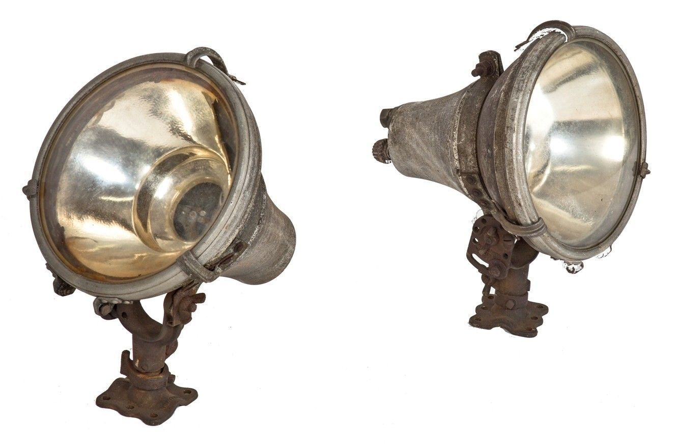 two matching original early 20th century antique american exterior reinforced cast aluminum theater building spotlights with xray company reflectors
