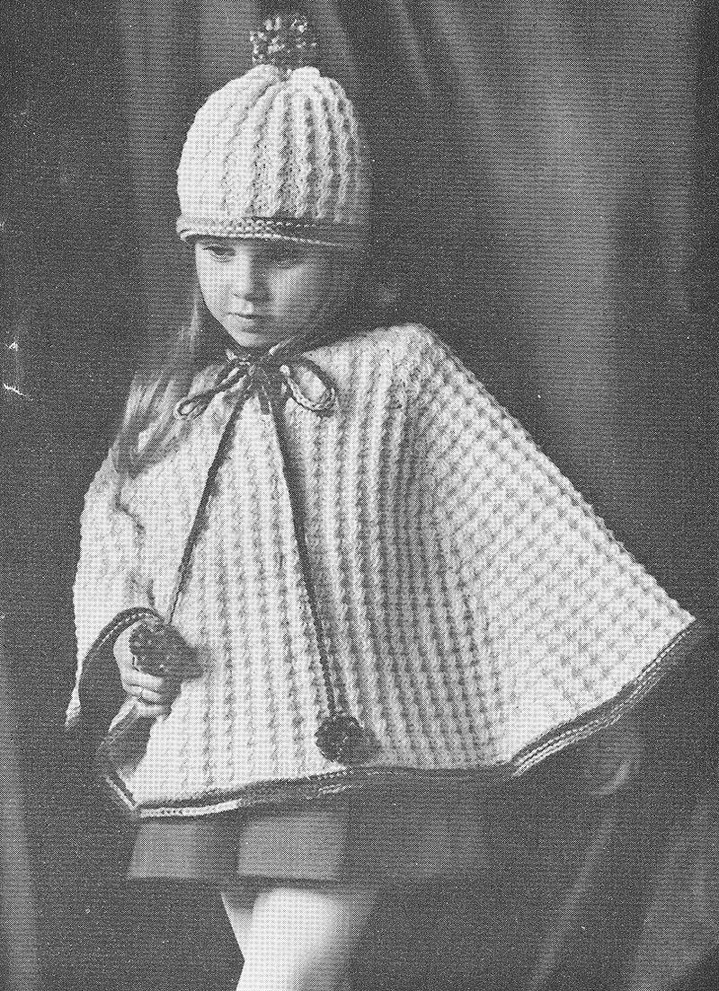 Vintage 1960s MOD Girls Poncho and Tam Knitting pattern PDF 6806 ...