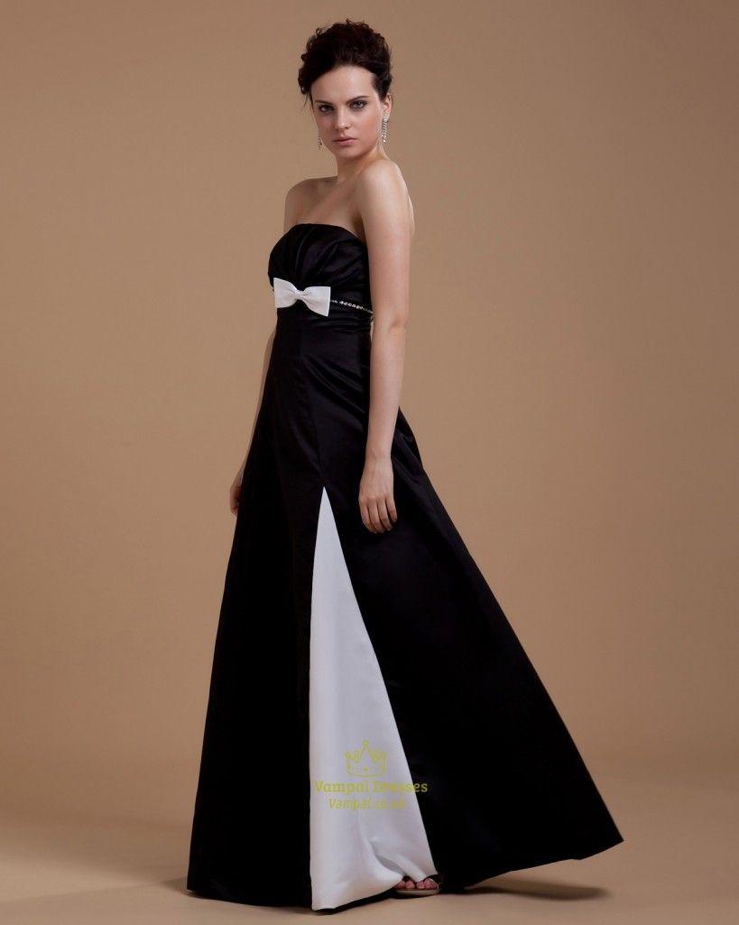 Black and white strapless maxi dress