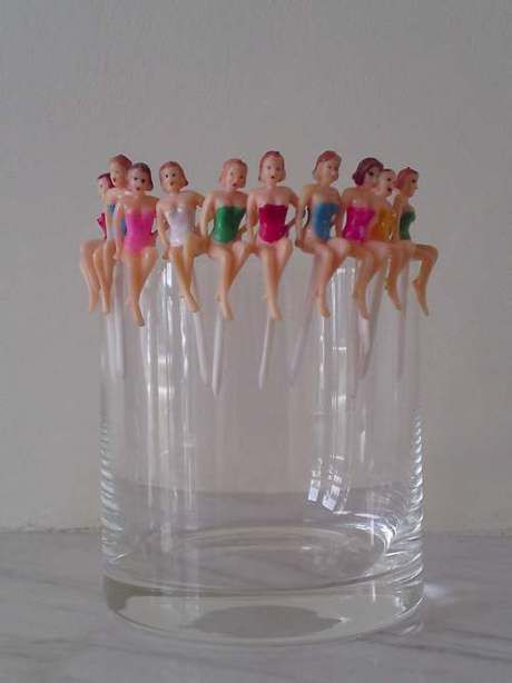These 1950′s pin-up cocktail sticks are amazing.  These were used to keep track of your cocktail at parties.