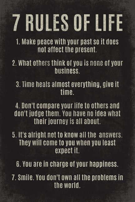 7 Rules Of Life, motivational poster print - Walmart.com