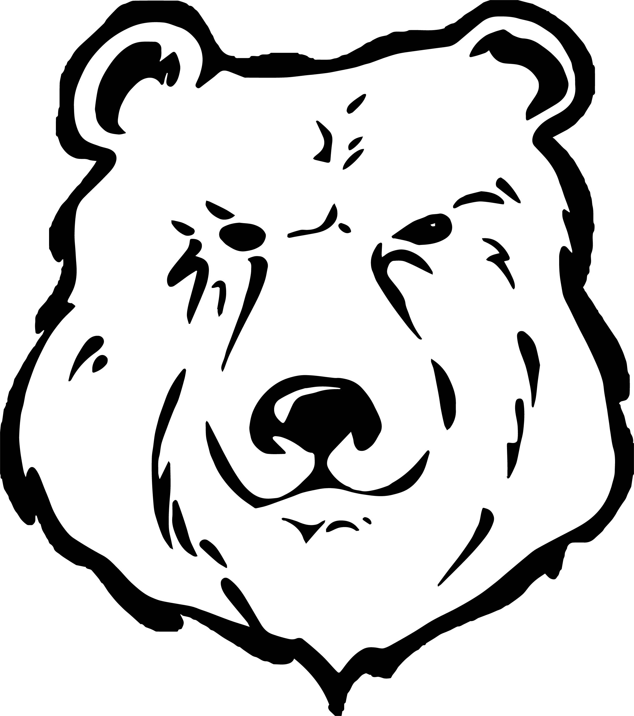 Cool Has Bear Face Coloring Page Bear Face Drawing Bear Face