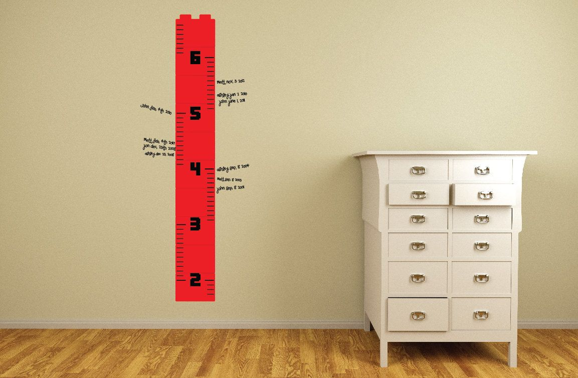 Lego Wall Decor growth / height chart toy brick builder theme ruler stacked bricks