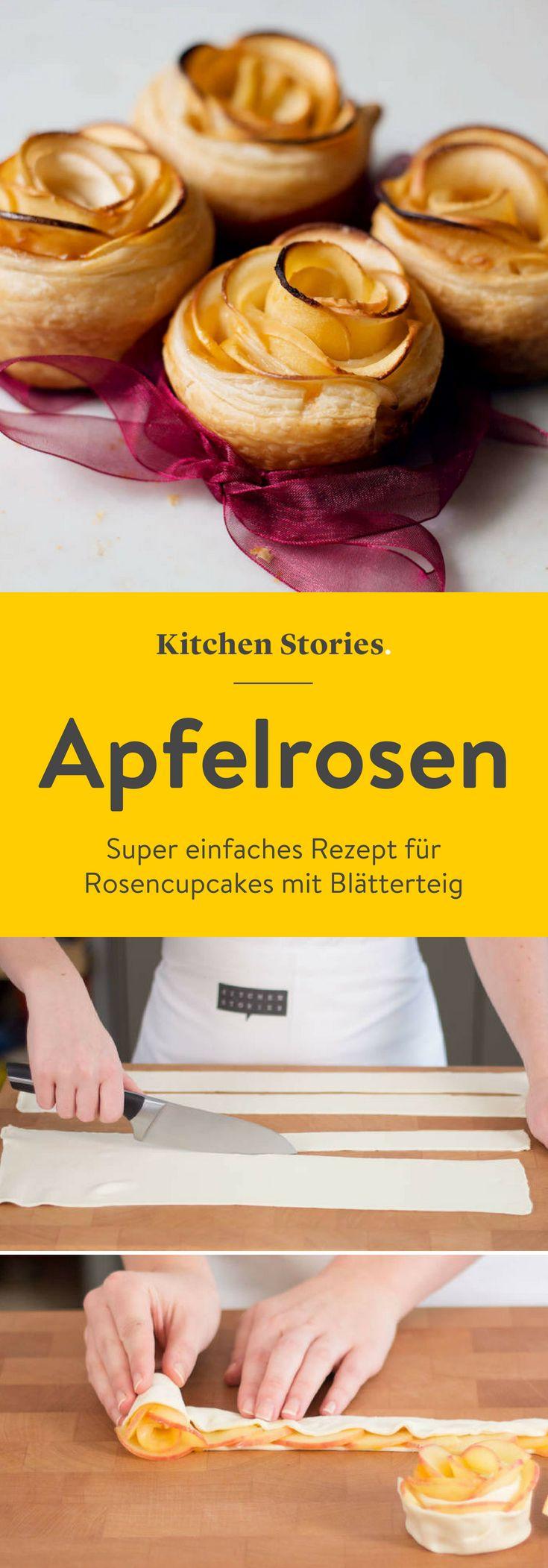 Rosen Cupcakes #apfelrosenmuffins