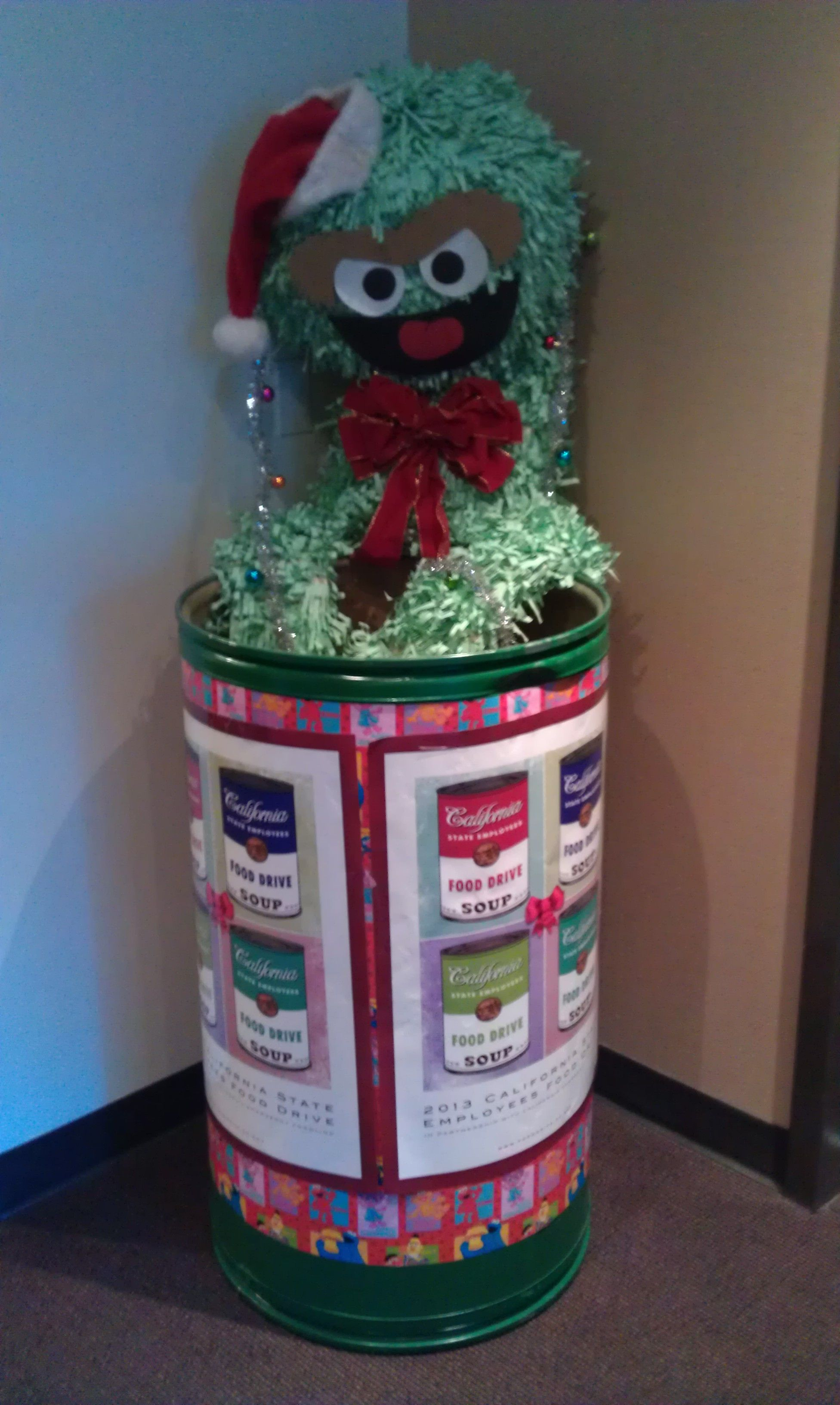 Oscar The Grouch Food Drive Collection Barrel Decorating