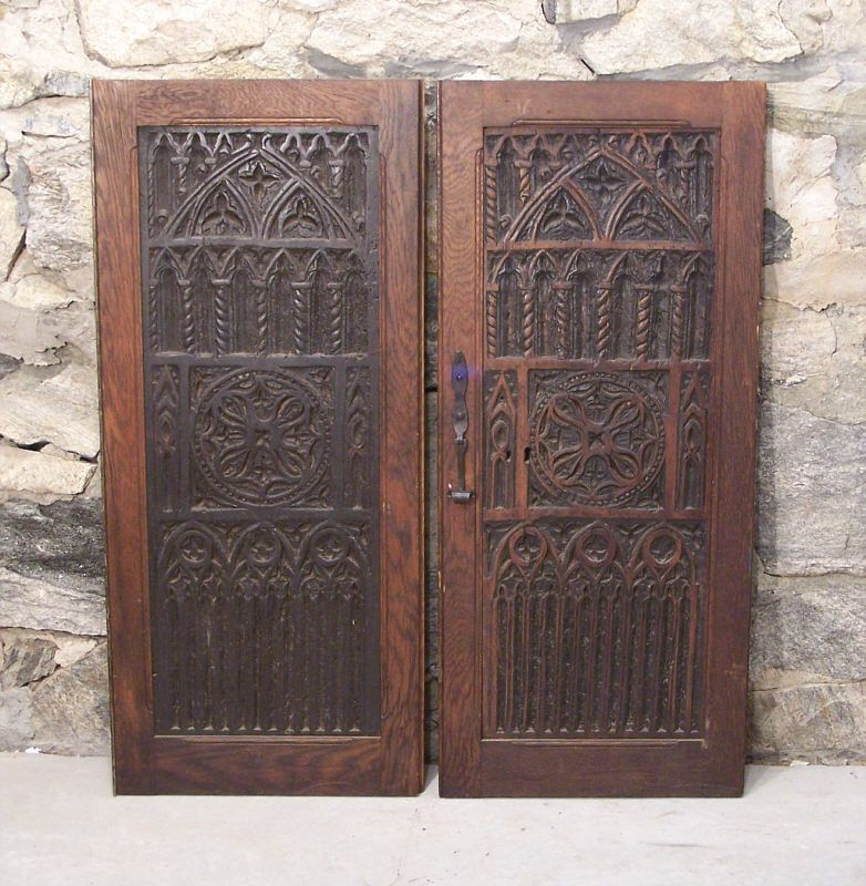 Pair 16th century Renaissance carved wood door panels - Pair 16th Century Renaissance Carved Wood Door Panels Antiques